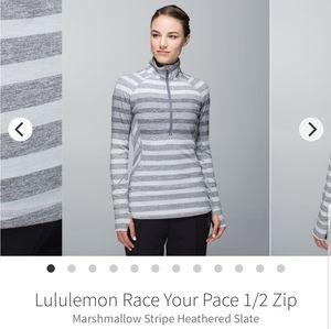 Lululemon race your pace 1/2 zip size 8
